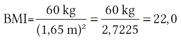 Um den BMI zu berechnen, teilt man das Körpergewicht [kg] durch die Körpergröße zum Quadrat (m2).